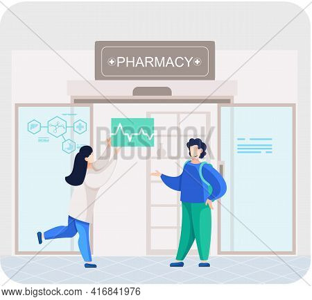 Pharmacy Store With Sign. Pharmacists Talking To Patient, Apothecary Advises Purchaser Of Medicines