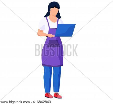 Female Character In Appron Is Watching Video Blog Aboul Culinary. Woman Is Holding Computer
