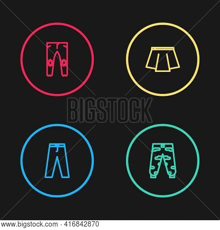 Set Line Pants, Camouflage Cargo Pants, Skirt And Icon. Vector