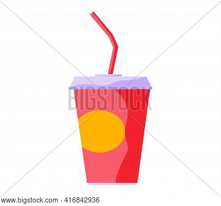 Carbonated Drink In Paper. Cocktail In Beverage Cupwith Drinking Straw In Cinema Vector Illustration