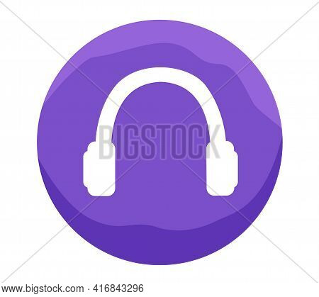 Round Headphone Icon. Music Device Symbol. Quipment For Listening To T Sound Vector Illustration