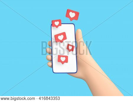 Cartoon Hand Holding Smartphone With Like Symbols Isolated On Blue Background. Social Media Concept.