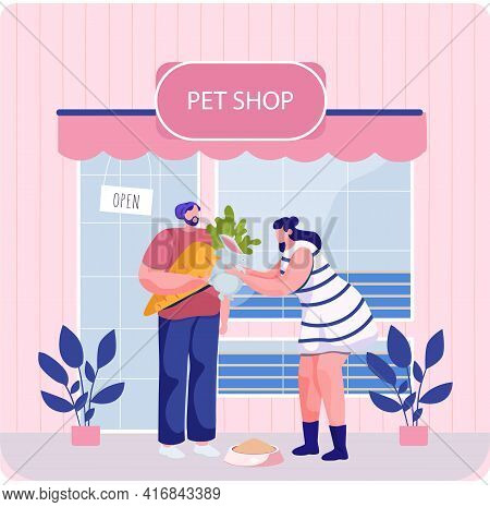 Pet Shop With Signboard, Veterinarian Market With Showcase, Animal Accessories Store Indoors
