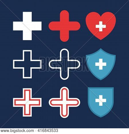 Set Of Plus Or Medical Cross Icons, Heart With Cross, Shields With Cross. Flat Pharmacy Design. Medi