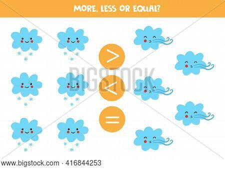 More, Less, Equal With Cute Snowy Cloud And Windy Cloud. Math Game.