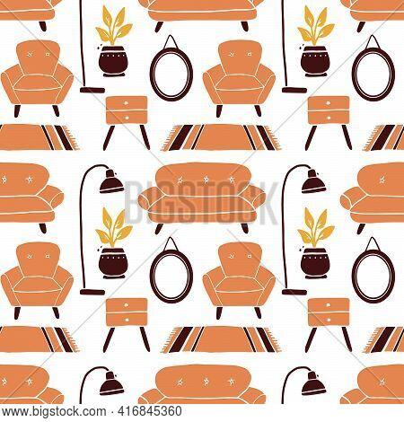 Seamless Pattern Of Living Room Furniture Elements, Sofa, Chair, Shelf, Houseplants. Simple Trendy F