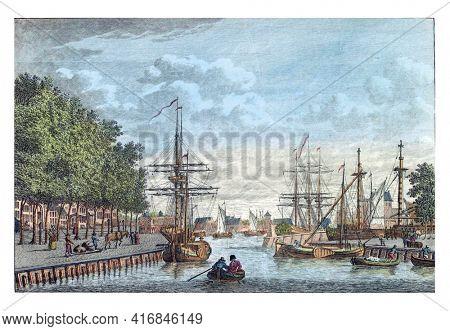 Port of Middelburg, vintage engraving.