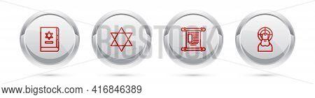Set Line Jewish Torah Book, Star Of David, Decree, Paper, Parchment, Scroll And Jesus Christ. Silver