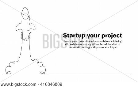 Business Project Start Up Concept With Rocket Ship In One Line Drawing Style. Web Banner With Launch