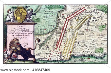 Map showing the order of battle of the troops at the Battle of Ramillies, vintage engraving.