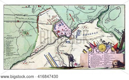 Map showing the order of battle of the troops at the Battle of Denain, vintage engraving.