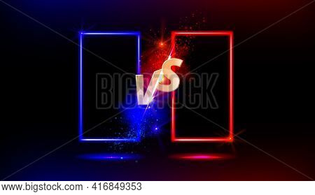 Versus Vs Gold Sign With Blue And Red Empty Frames Or Borders And Glow Sparks On Black Background. S