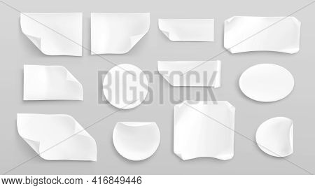 White Paper Stickers Or Crumpled Glued Patches Mockup. Blank Shrunken Labels Of Different Shapes Rou