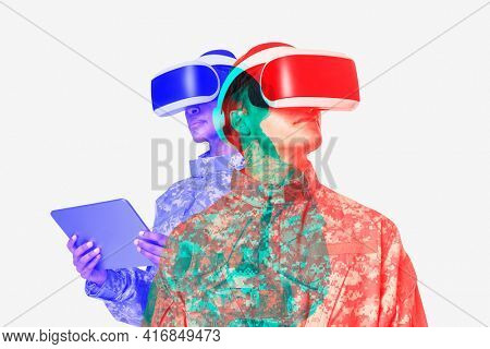 Female military wearing VR headset army technology in double color exposure effect