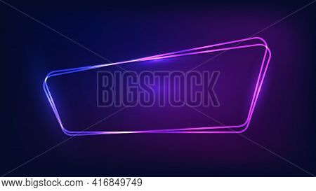 Neon Double Rounded Frame With Shining Effects On Dark Background. Empty Glowing Techno Backdrop. Ve