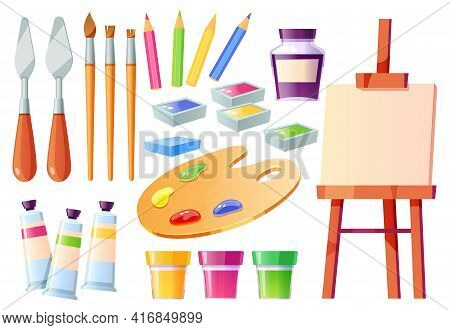 Artist Tools, Brushes, Palette, Easel And Paints. Creative Painter Equipment For Craft And Drawing.