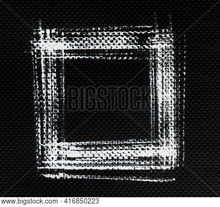 White square frame on black background, Hand-drawn strokes on napkin tissue texture