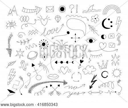 2101.i010.n012.s.c12.1396995566.doodle Symbols. Hand Drawn Thin Line Arrows With Scribble Emphasis C