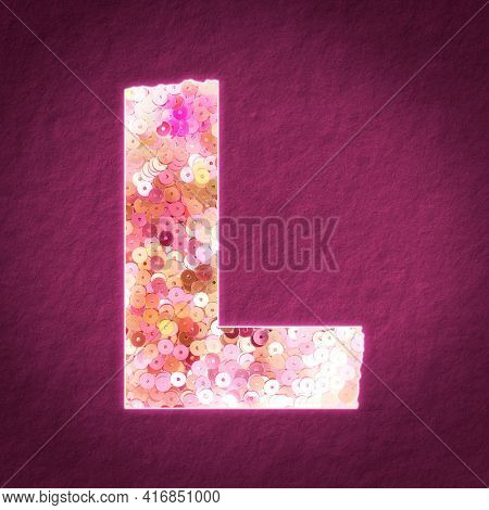 Glittery letter L with sequin texture illustration