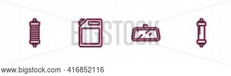 Set Line Shock Absorber, Car Mirror, Canister For Gasoline And Icon. Vector