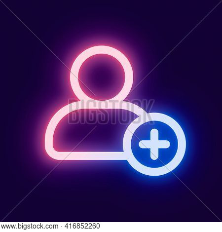 Add friend pink icon for social media app neon style