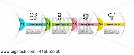 Set Line Painkiller Tablet, Dental Pliers, Protection And Implant. Business Infographic Template. Ve