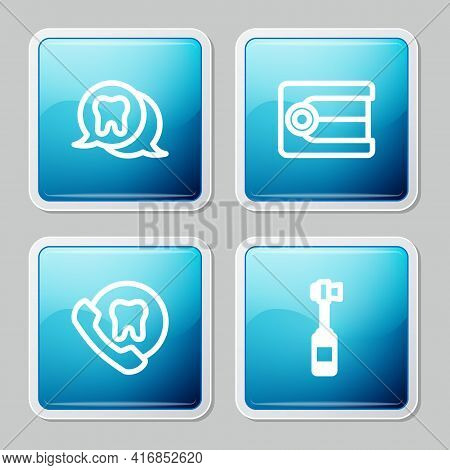 Set Line Tooth, Dentures Model, Online Dental Care And Toothbrush Icon. Vector