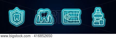 Set Line Dental Protection, Tooth, Dentures Model And Mouthwash Bottle. Glowing Neon Icon. Vector