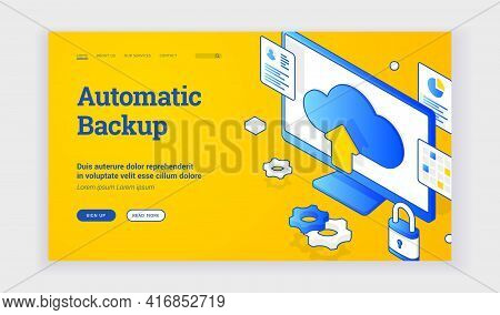 Automatic Backup. Isometric Vector Illustration Of Computer Monitor With Cloud Storage Sign Depicted