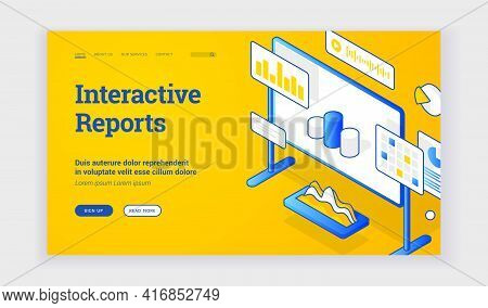 Interactive Reports. Vector Banner Of Web Page With Board And Graph Icons Offering Information Learn