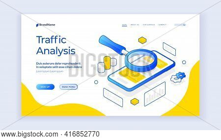 Traffic Analysis. Isometric Banner Template With Magnifying Glass Above Mobile Phone For Concept Of
