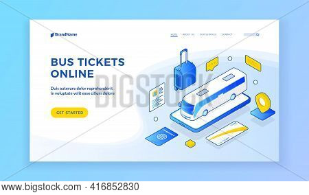 Bus Tickets Online. Vector Illustration Of Bus And Travel Symbols On Banner Of Online Ticket Selling