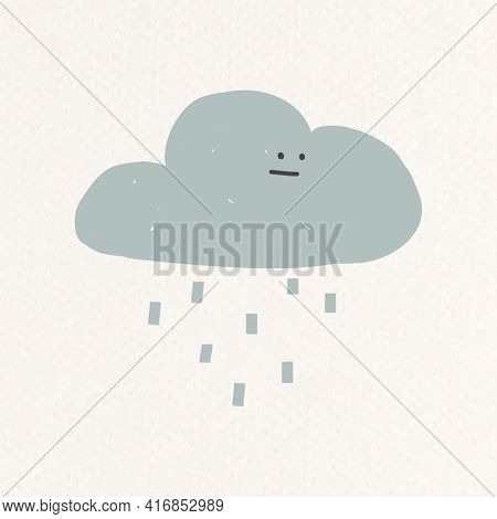 Doodle rainy cloud illustration weather forecast drawing for kids