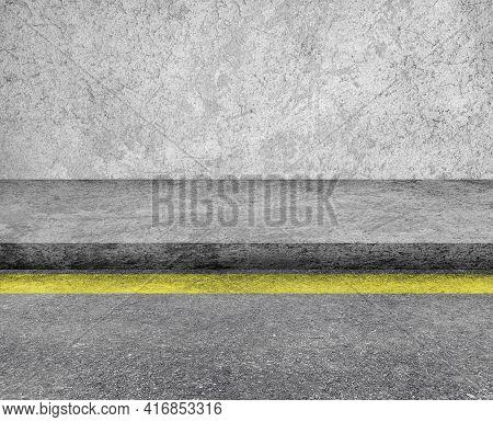Empty Space Of Concrete Walkway Or Footpath Beside Asphalt Street Road.
