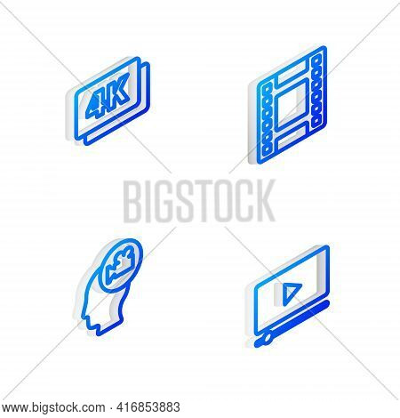 Set Isometric Line Play Video, 4k Ultra Hd, Head With Camera And Online Play Video Icon. Vector