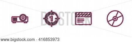 Set Line Media Projector, Movie Clapper, Old Film Movie Countdown Frame And Cd Dvd Disk Icon. Vector