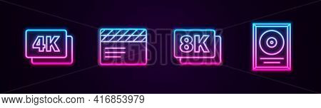 Set Line 4k Ultra Hd, Movie Clapper, 8k And Cd Disk Award In Frame. Glowing Neon Icon. Vector