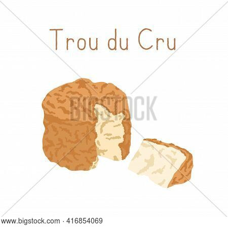 Gourmet Trou Du Cru Cheese With Orange Rind. Cut Triangle Piece Of Delicious French Creamy Soft Chee