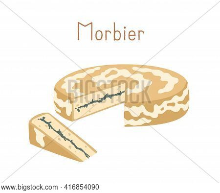 Gourmet Semi-soft Cheese With Sticky Rind And Thin Black Layer In The Middle. Cut Triangle Piece Of