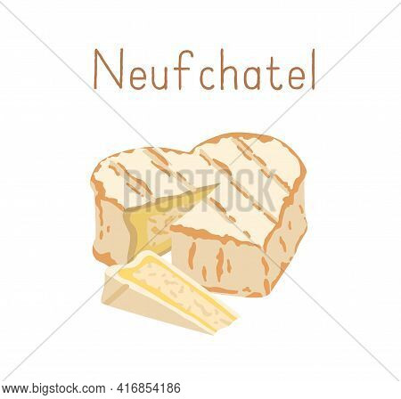 French Soft Heart-shaped Cheese With Bloomy Rind Of Mold. Cut Triangle Piece Of Delicious Moldy Crea