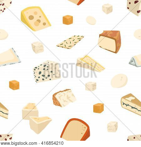 Seamless Pattern With Different Cheese Slices On White Background. Endless Repeatable Gourmet Food T