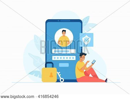 Online Registration And Sign Up Concept Flat Vector Illustration. Young Male Cartoon Character Sitti