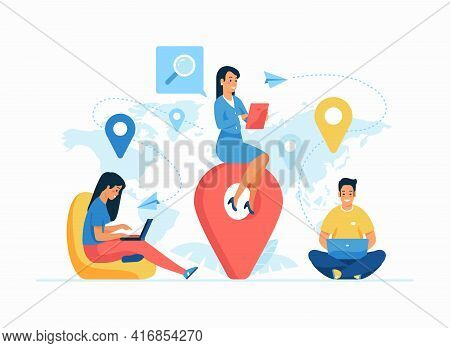 Global Outsourcing Concept Flat Vector Illustration. Remote Working. Female Cartoon Employer Managin