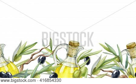 Olive Branch, Fruit, Leaves, Oil Seamless Border. Black And Green Raw Organic Olive Plant Endless El