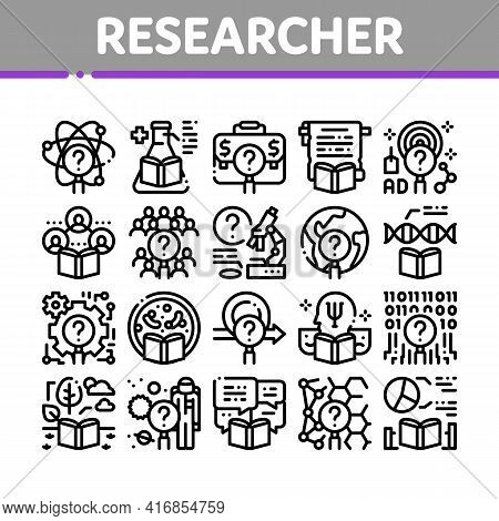 Researcher Business Collection Icons Set Vector. Chemical Laboratory And Biology Researcher, Sociolo