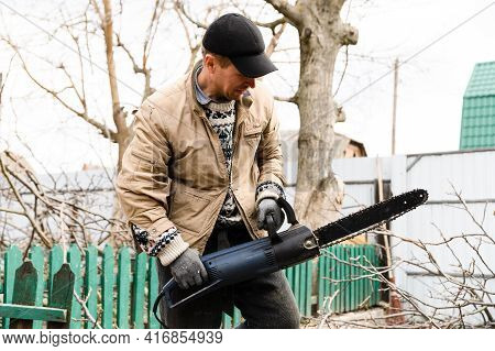 Lumberjack Saws A Walnut Tree With A Chainsaw At Home. A Man Is Sawing A Tree In His Yard. Logger Wo