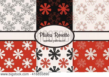 Collection Of Seamless Patterns With Ancient Pliska Rosette Medieval Bulgarian Symbol Designed For W