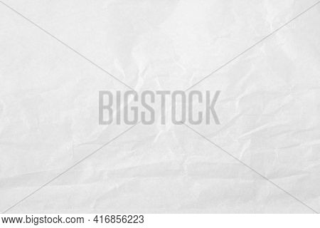 White Color Creased Paper Tissue Background Texture, Wrinkled Tissue Paper Texture