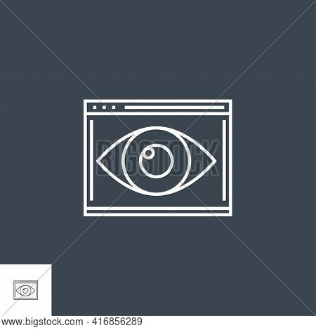Web Visiblity Related Vector Thin Line Icon. Isolated On Black Background. Editable Stroke. Vector I