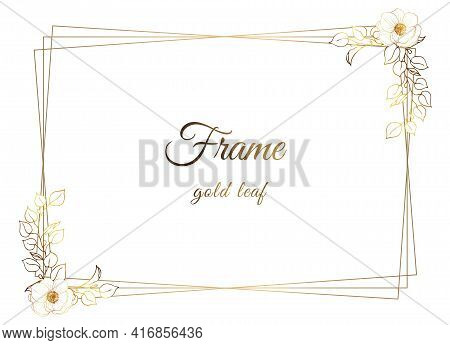 Gold Frame. Modern Square Frame. Golden Sprigs On A White Background. Place For Your Text.